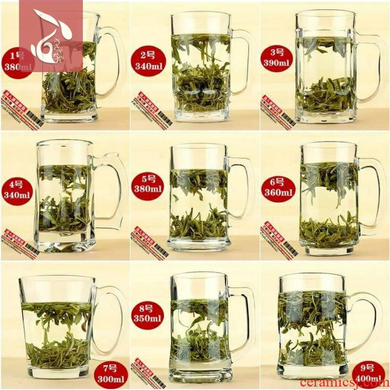 Large take without cover transparent heat - resistant glass tea cup express lever handle household without cover of water glass