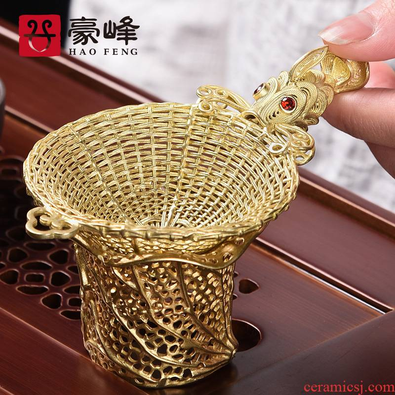 HaoFeng pure copper creative hat to filter suit carp filter kung fu tea tea tea tea strainer accessories side