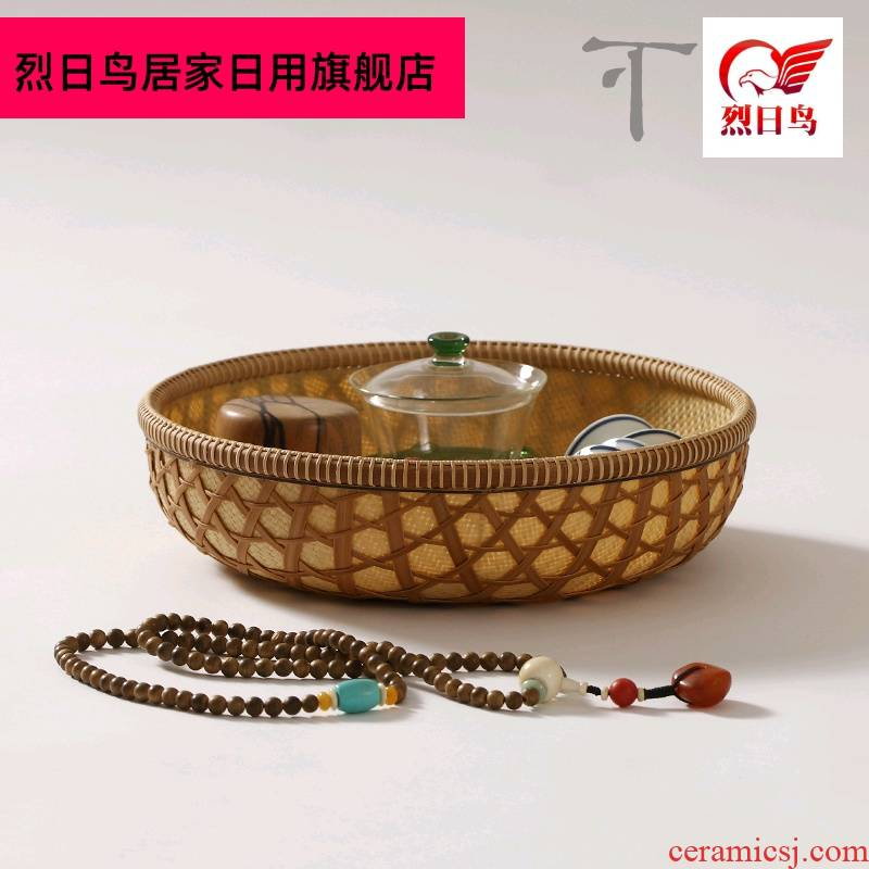 Dongyang intangible receive bamboo has bamboo baskets of fruit tray manually choreography needle baskets of tea basket of tea, tea set to receive