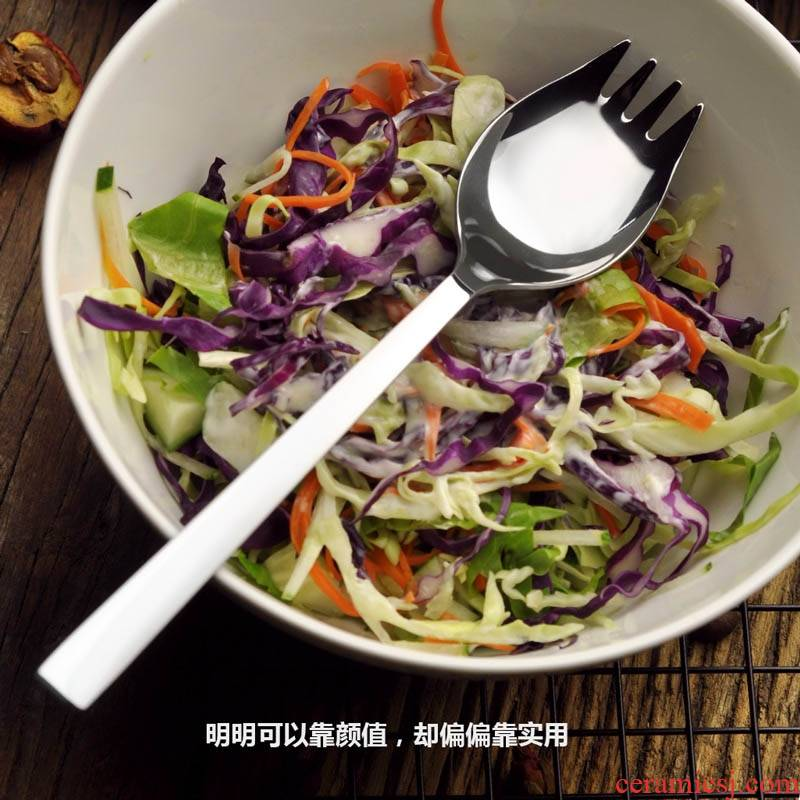 W304 stainless steel western food and fork spoon one, such as salad spoonful of soup pasta hotel cutlery fork spoon