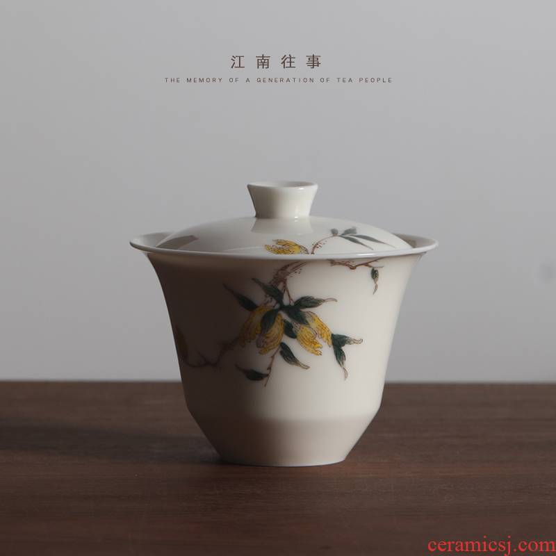 Jiangnan past jingdezhen glair hand - made ceramic kung fu tea cup single small tea bowl three tureen