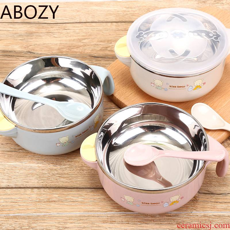 The Children 's adult stainless steel bowl big child large - sized water insulation bowl with cover the spoon practice baby tableware to eat bread and butter