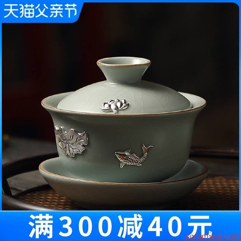 The From your up tea sets Taiwan FengZi ceramic cups household manual only three silver tureen lid