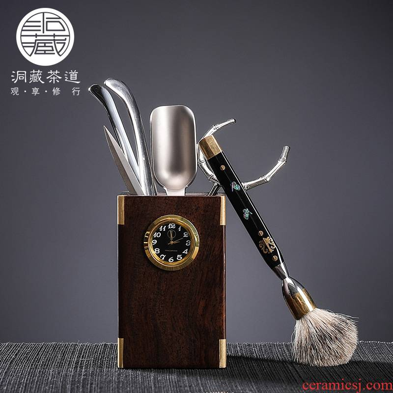 """In building ebony wood tea six gentleman 's suit Mosaic """"Damascus knife window fittings of Chinese style household utensils"""