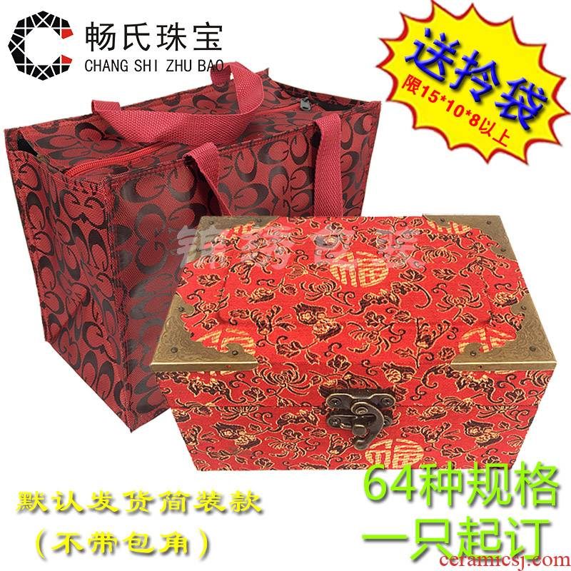 Wooden JinHe collectables - autograph archaize porcelain collection box with furnishing articles crystal gift box jewelry box