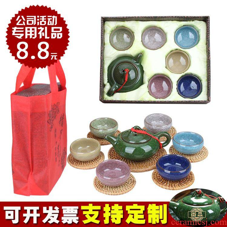 Ceramic tea set kung fu tea cups white porcelain tea set heat the teapot simple blue and white porcelain tea separation