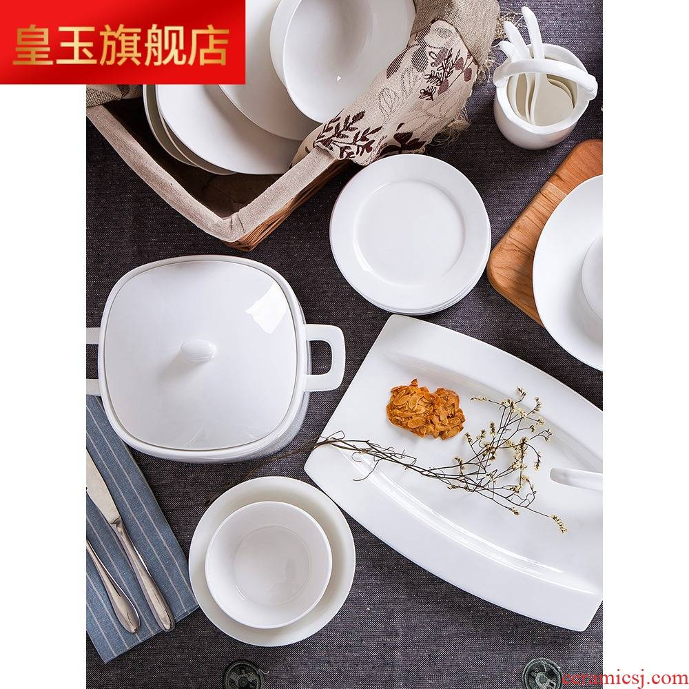 8 PLT jingdezhen ceramic tableware suit household under the glaze color pure white contracted ceramics dishes dishes chopsticks