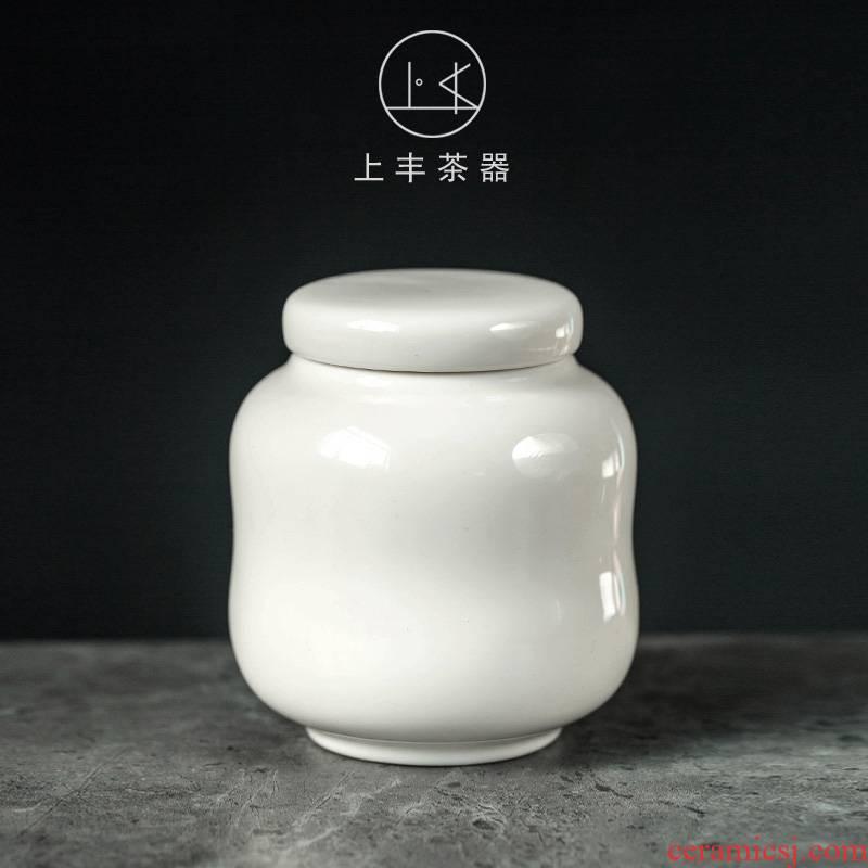 Feng dehua white porcelain pure color caddy fixings trumpet on ceramic jar white porcelain tea pot store POTS and POTS