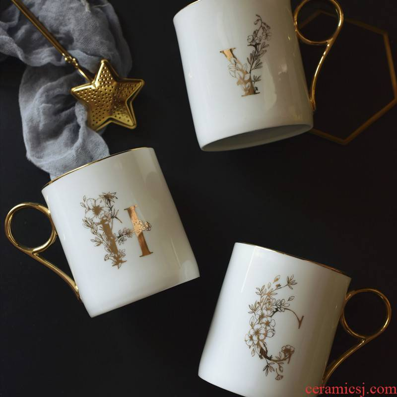 Nordic ins creative ceramic office letters cups high - capacity female mark cup ipads porcelain cup milk couples