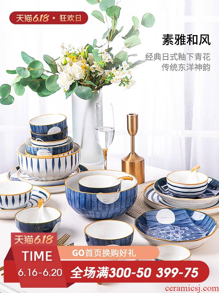 The Fijian trent jingdezhen suit Japanese dishes chopsticks tableware ceramics creative northern dishes home plate combination