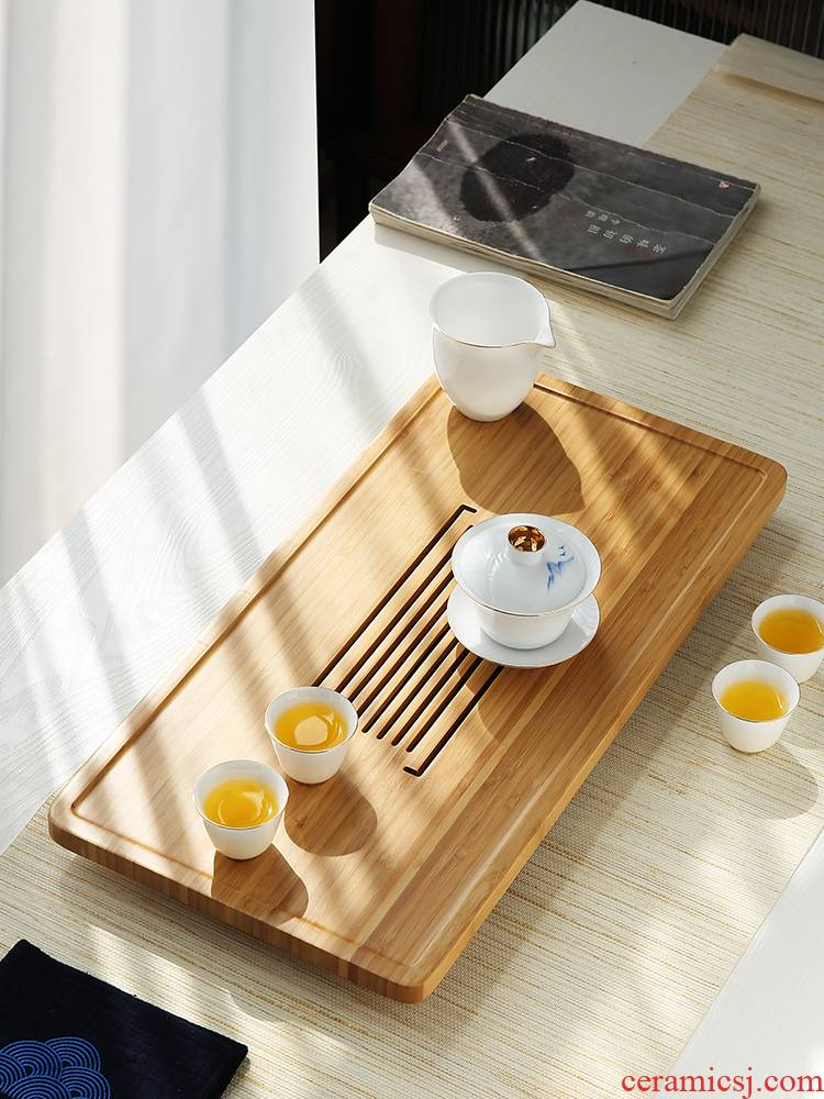 Tang Feng bamboo tea tray was a rectangle of the draw - out type dry plate of home sitting room small tea saucer modern sea water tea