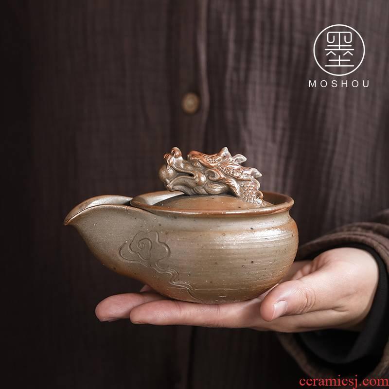 By firewood leading Japanese pure manual coarse pottery teapot hand grasp pot pinecone tureen kung fu tea tea