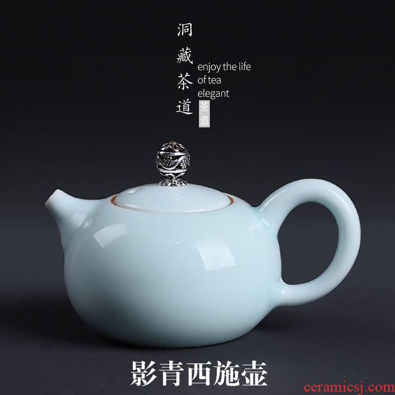 Kung fu tea set ipads China shadow in building ceramics green sweet white porcelain teapot tea pot household contracted single pot