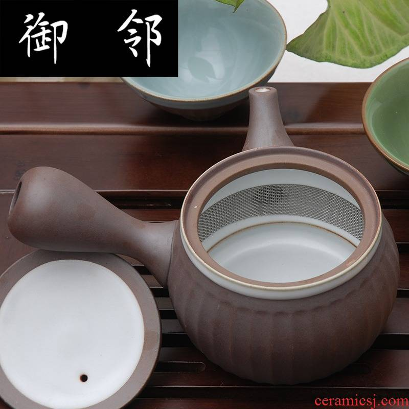 Variable retro earthenware kung fu tea set xiangyang big side pot set of 10 into the tea set