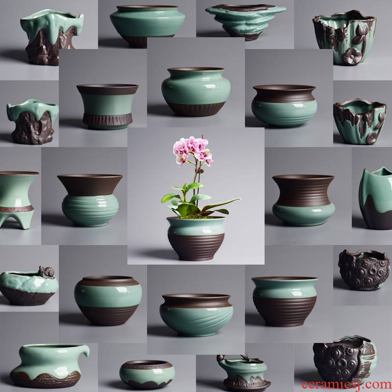 Creative household the plants potted flower pot in fleshy rich tree asparagus bracketplant butterfly orchid special ceramic POTS