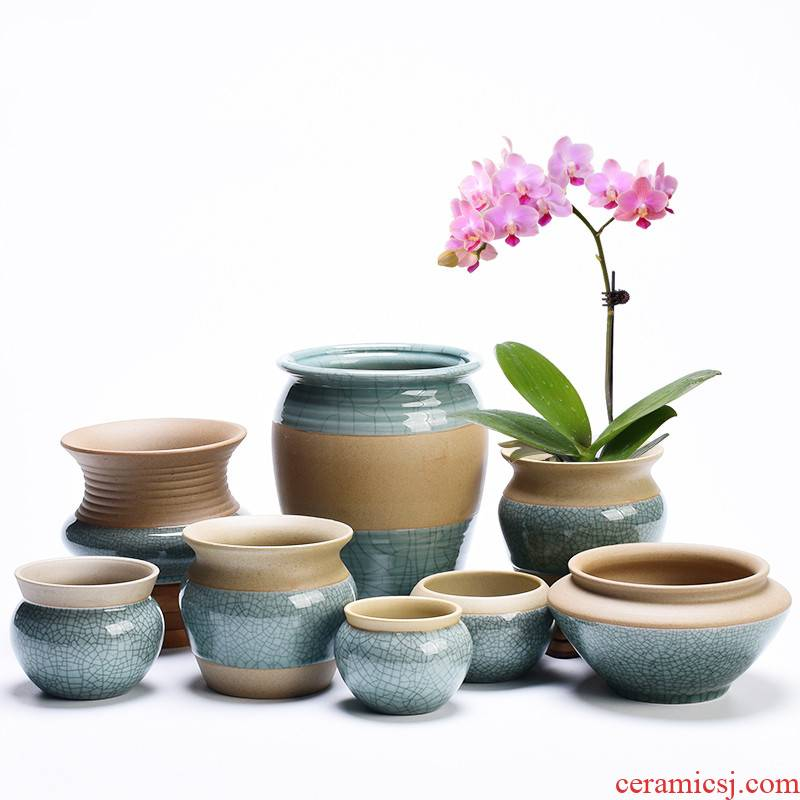 Other creative ceramic butterfly orchid flower POTS coarse pottery basin of green plant household indoor potted meat more breathable office