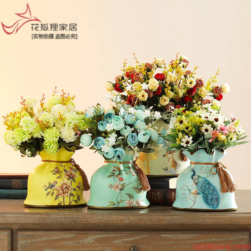 European rural creative ceramic purse simulation flower vase American retro floral living room table dry flower arranging flowers