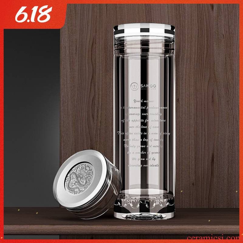 High - grade double insulated glass cup tea separation of men and women make tea cup office cup present for dad