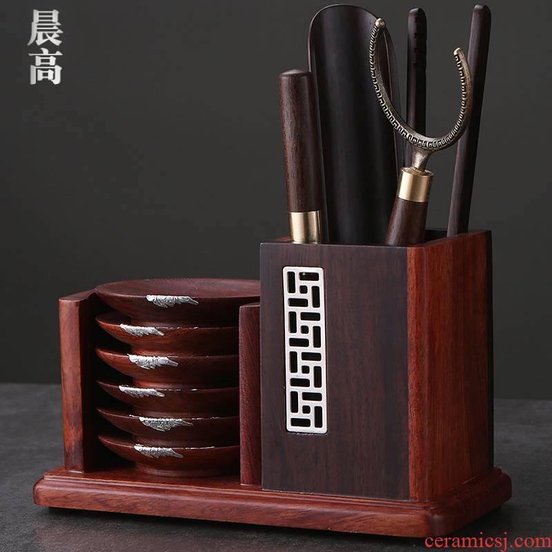Morning high ebony tea six gentleman 's real wood coasters ChaGa fittings kung fu tea tea cup set suits for