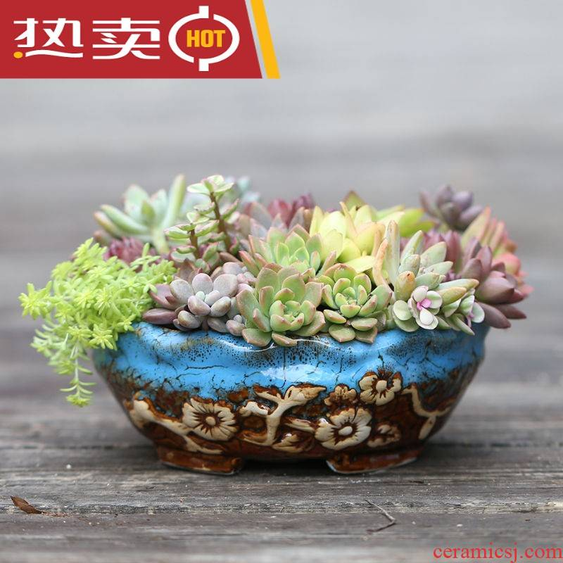 Ceramic flowerpot more than creative flower POTS, large diameter meat meat meat, green plant circular medium pot king clearance package