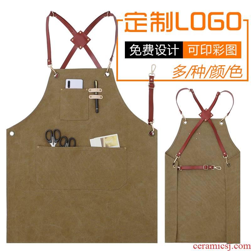 Coffee, milk tea shop apron logo custom hairdresser Japanese female restaurant bar denim overalls male flower shop
