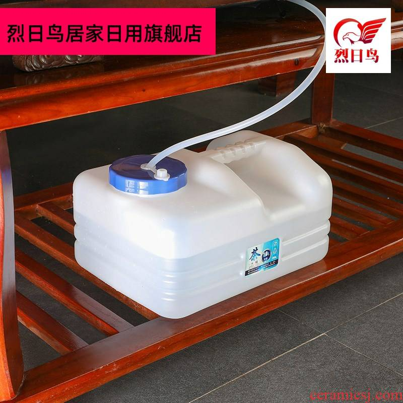 Kung fu tea tea barrel water storage barrel household flat square short bucket tea tank tea tray was water bucket