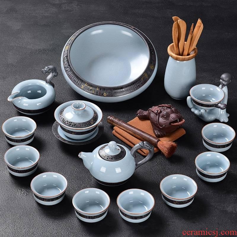 Hk xin rui ceramic kung fu tea set suit household elder brother up teapot teacup combinations of a complete set of open your porcelain tea set