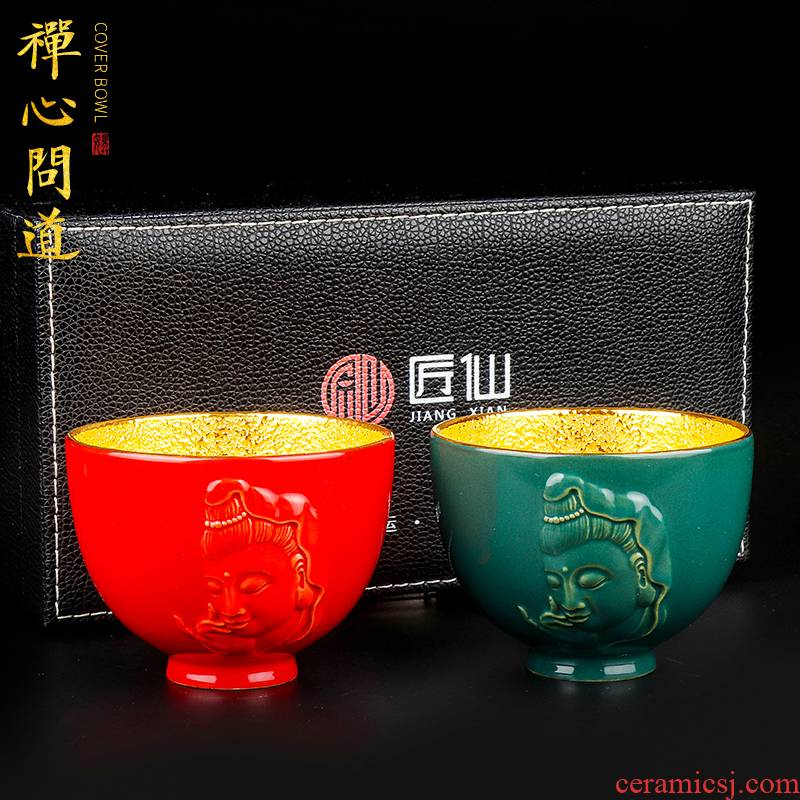 Artisan fairy gold picking cups of household ceramic cups kung fu masters cup cup of pure manual single cup sample tea cup