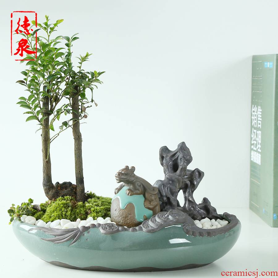 Classical elder brother up with large ceramic flower pot huai contracted originality of large diameter with tray combination model potted landscape character