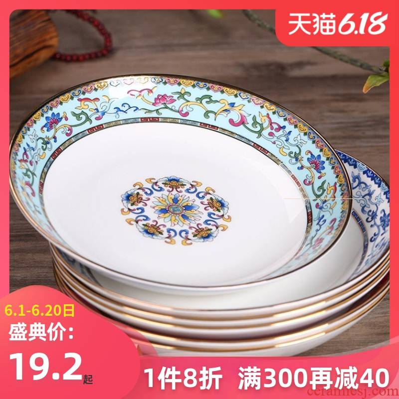 Jingdezhen new ceramic tableware ipads porcelain child home cooking dish FanPan deep dish salad plate antique Chinese style cuisine