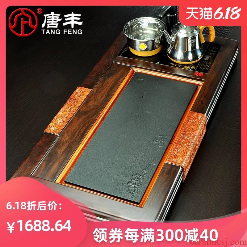 Tang Feng ebony black stone tea tray panel hua limu tea tea table 4 z one kung fu tea set electric heating furnace