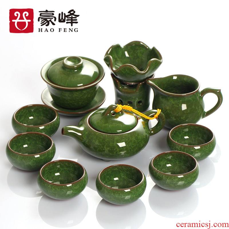 HaoFeng ice crack glaze of a complete set of kung fu tea set ceramic household Japanese contracted teapot teacup tea tureen