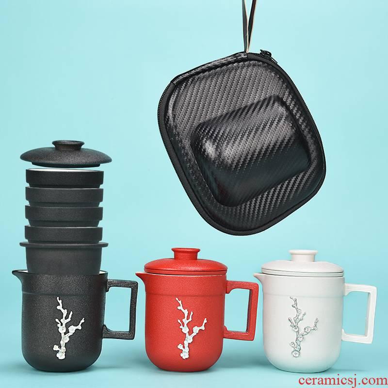 To crack a pot of portable travel tea set tea set fourth is suing travel car teapot tea cup