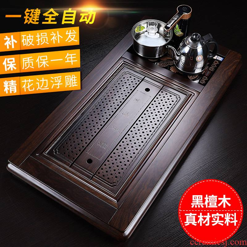 In solid wood tea tray import ebony fourth one drainage type household electric tea tray was kung fu tea tea
