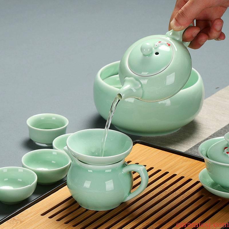 T celadon kung fu tea set home office ceramic carp tureen teapot tea cups to wash to the whole set of ground