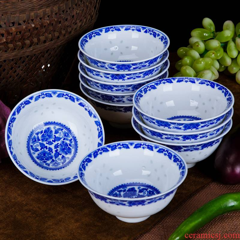 Rice bowls rainbow such as bowl bowl nostalgic bowl of the blue and white porcelain and exquisite Chinese wind restoring ancient ways of ceramic tableware