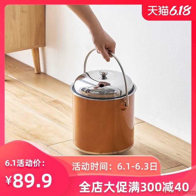 Household kunfu tea sets tea tray stainless steel after hot waste water bucket bucket of tea tea bin dross barrels
