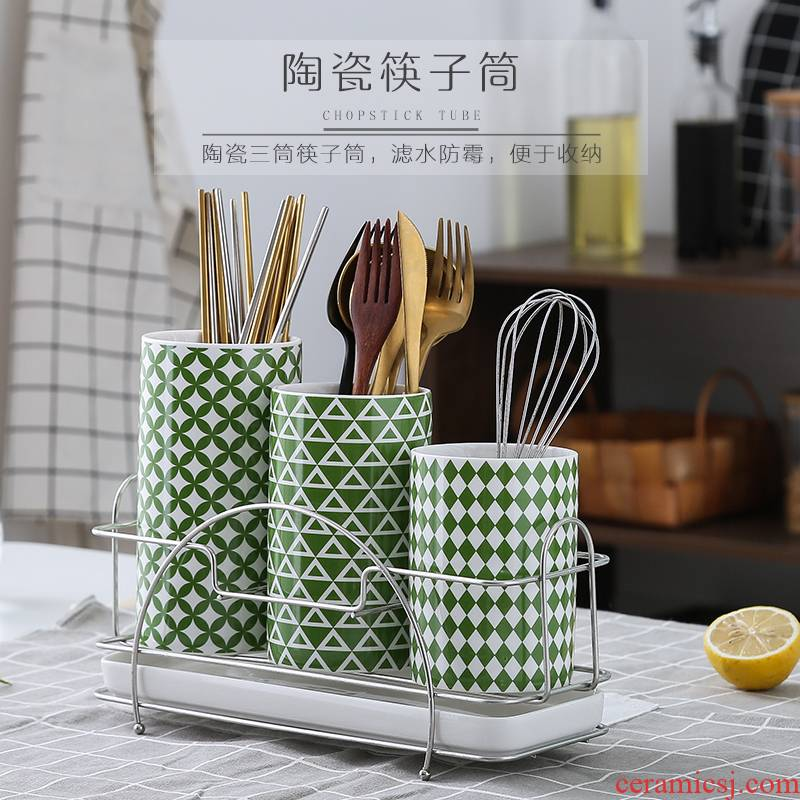 Pure and fresh and green ceramic chopsticks tube light key-2 luxury household knife and fork spoon, chopsticks rack receive a case Nordic ins tide k, black and white