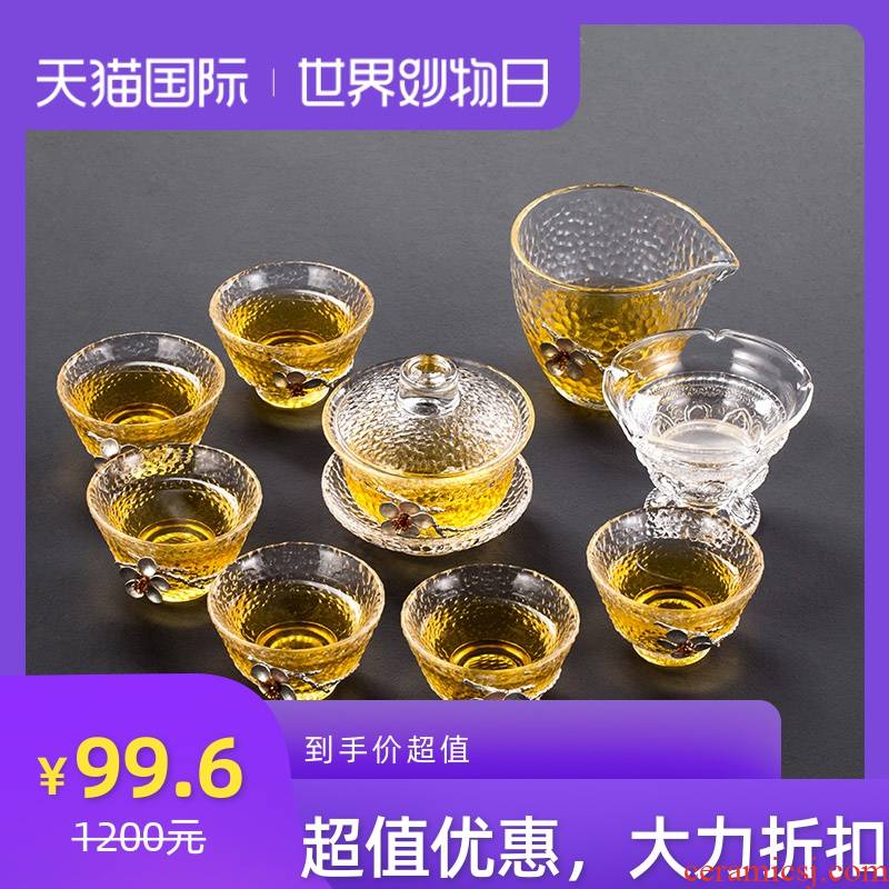With tin tureen large cups thickening glass heat - resisting kung fu tea set home three to prevent hot tea bowl bowl