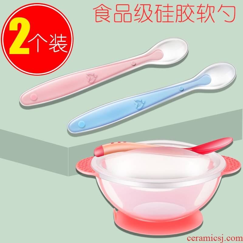 The spoon to eat baby infant children see chuck bowl from soft silicone spoon children chopsticks tableware suit eating The food