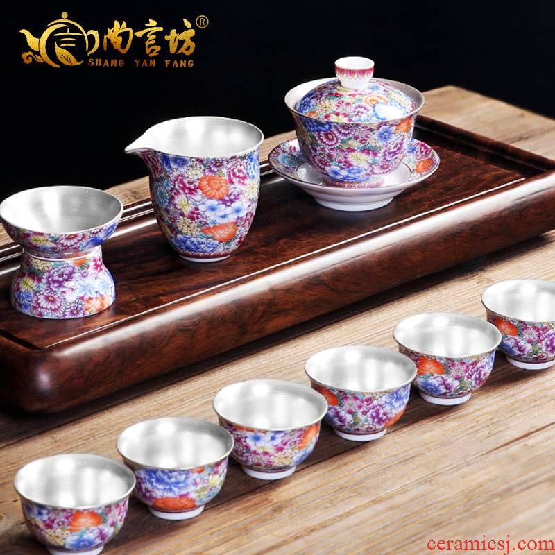 It still fang home tasted silver gilding kung fu tea tea set ceramic enamel teapot tea silver restoring ancient ways