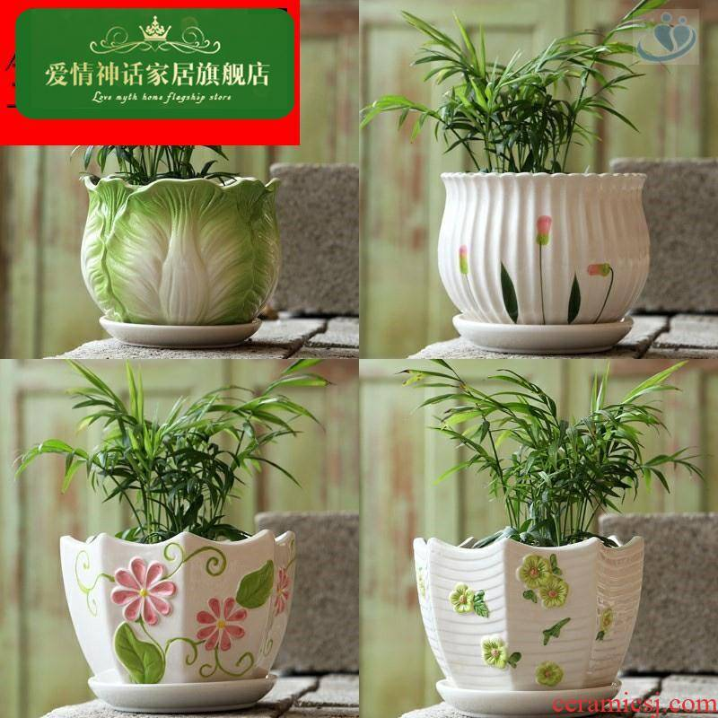 Flowerpot ceramic large clearance contracted household with extra large tray plastic flower pot money plant bracketplant, fleshy