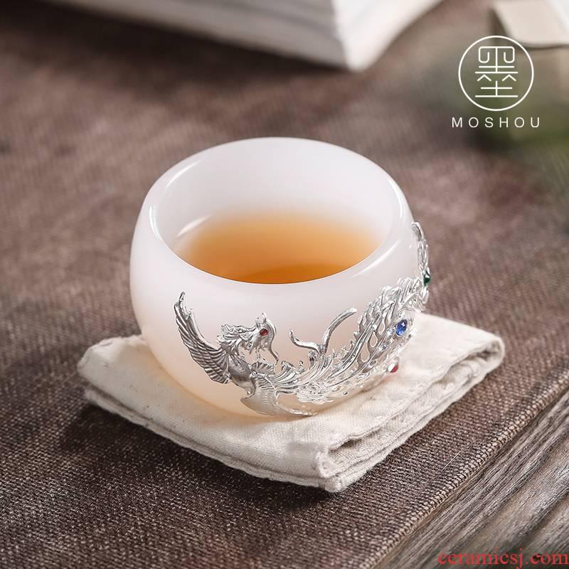 By coloured glaze jade porcelain teacup master cup single cup large creative custom sample tea cup glass kung fu tea set