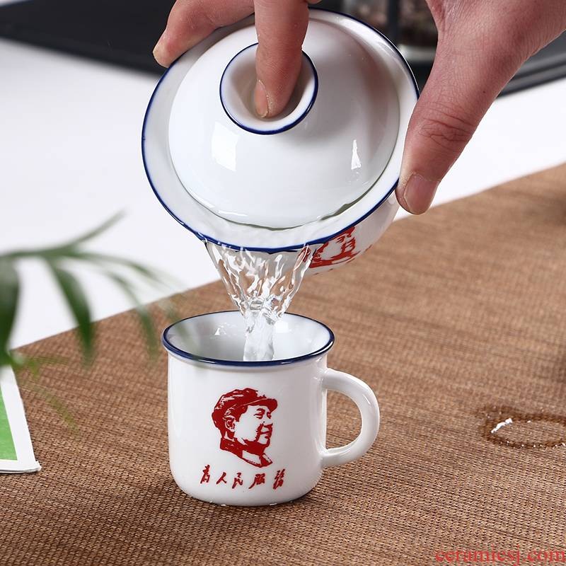 The Mini ceramic small teacup creative imitation enamel cup to serve the people move restoring ancient ways with the kombucha tea cup