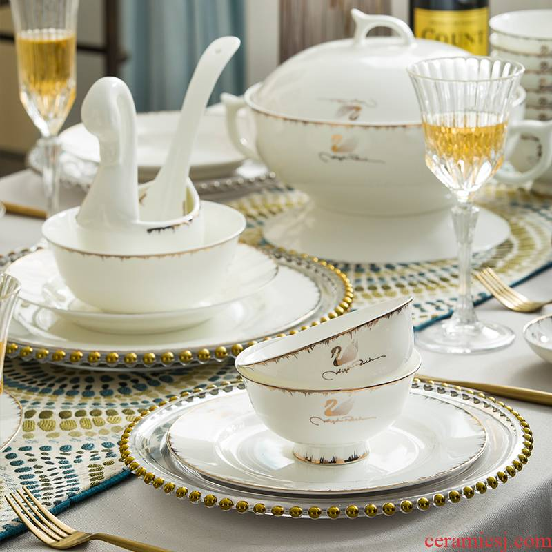 For household jobs the tableware suit European yellow gold dishes dishes dishes soup bowl Nordic rice bowl chopsticks