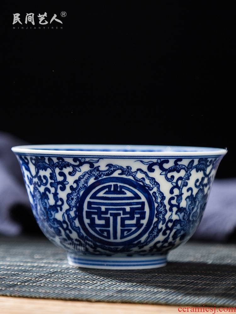 Folk artists hand - made group long - lived grain master of blue and white porcelain cup single CPU jingdezhen ceramic kung fu big cups sample tea cup