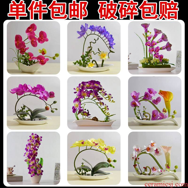 Simulation emulation silk flowers money butterfly orchid orchid fresh flowers miniascape of ceramic household act the role ofing is tasted many optional vase