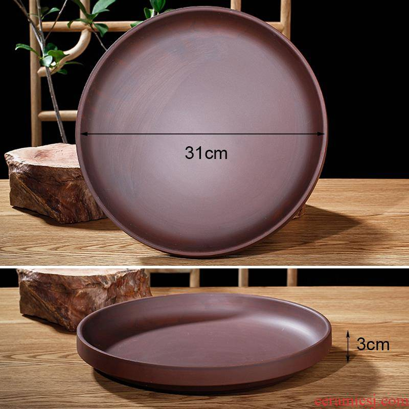 The Big round ceramic tray was pot pot basin of purple sand flowerpot pelvic floor mop water pans as as prevent leakage