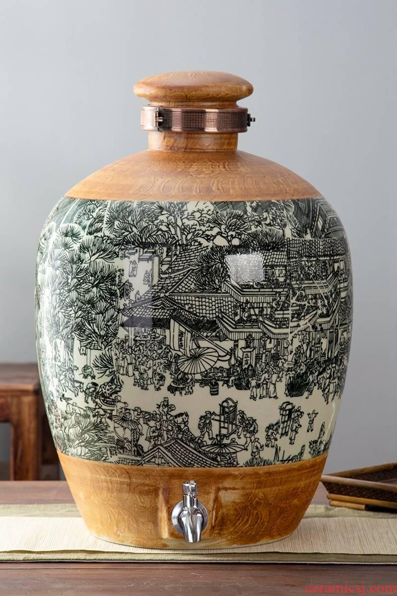 Jingdezhen ceramic jars bottle 10 jins 20 jins 30 jins 50 jins domestic sealed with cover vintage wine jar