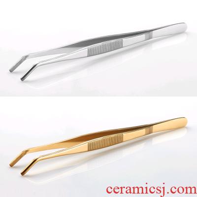 Household? Smooth stainless steel ChaGa clip clip tweezers for wash cup tea tea tea kungfu tea accessories